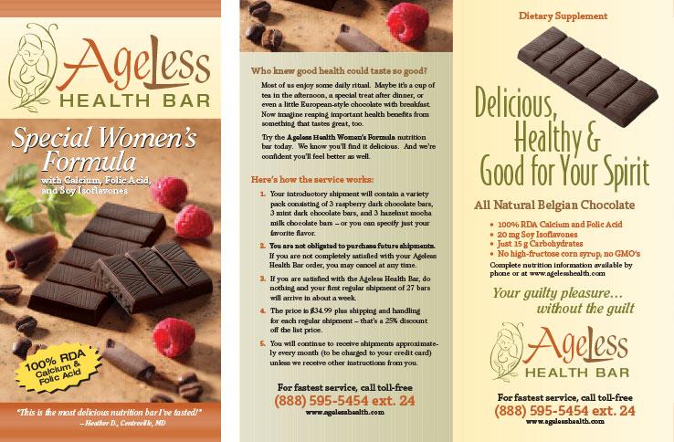Marketing Collateral Design Portfolio: Product Brochure: Ageless Health Bar