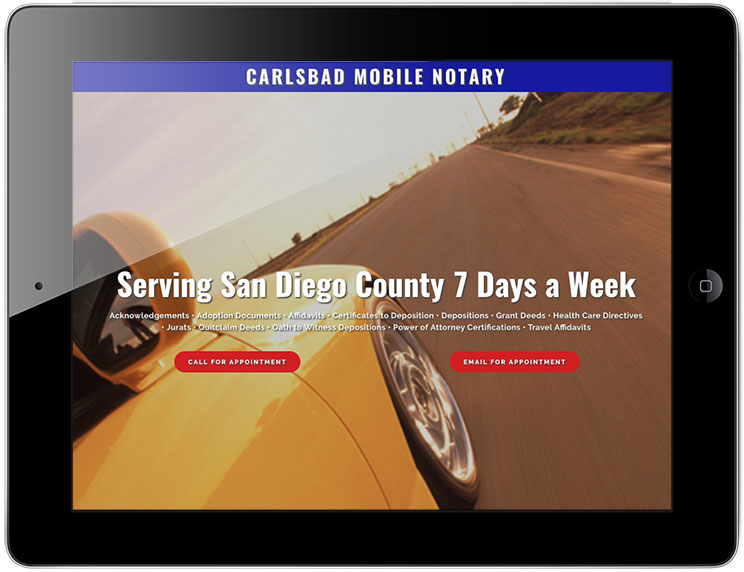 Carlsbad Mobile Notary website