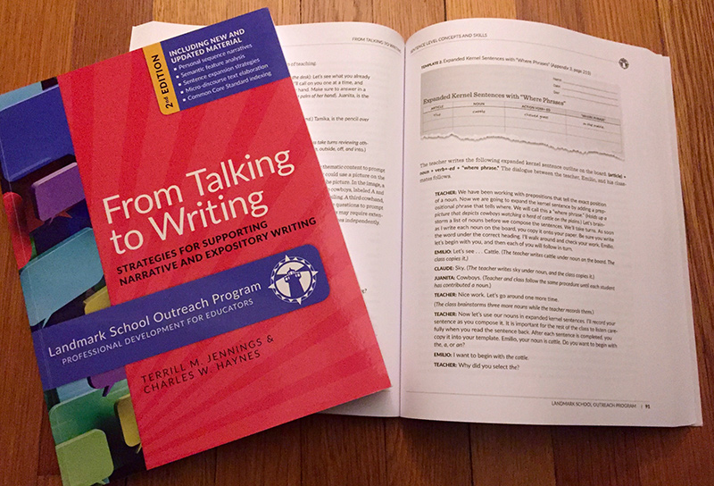 From Talking to Writing , a 268-page curriculum text we produced for the Landmark School Outreach Program.