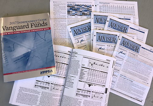 The Independent Adviser for Vanguard Advisers monthly newsletter, and the 2017 Independent Guide to the Vanguard Funds , a 308 page annual guide that we produce for InvestorPlace Media.