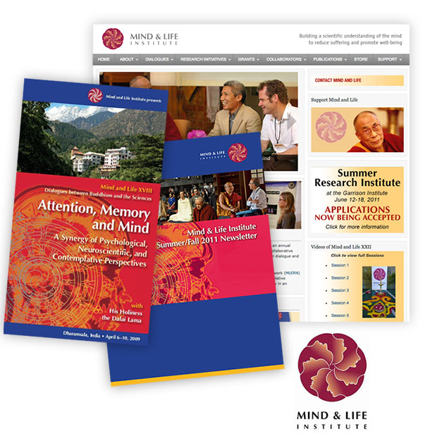 """The Institute's previous """"look"""" as shown through their old website, publications, and logo. The brand was dated, and overly tied to imagery of the Dalai Lama, and Buddhist tradition, limiting its appeal."""