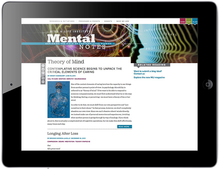 Some pages from the revamped mindandlife.com