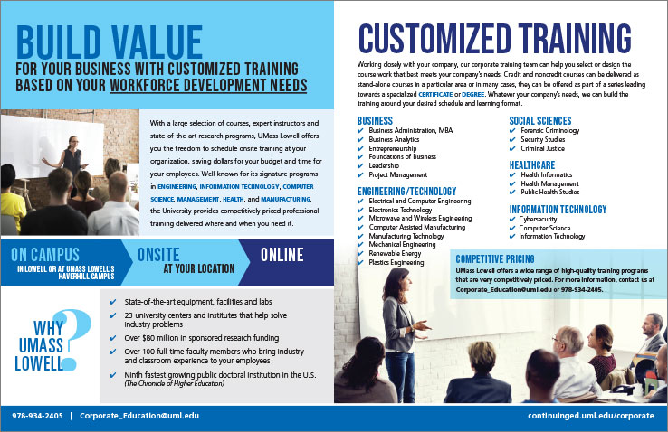 Marketing Collateral Design Portfolio: Corporate Education Brochure: UMass Lowell