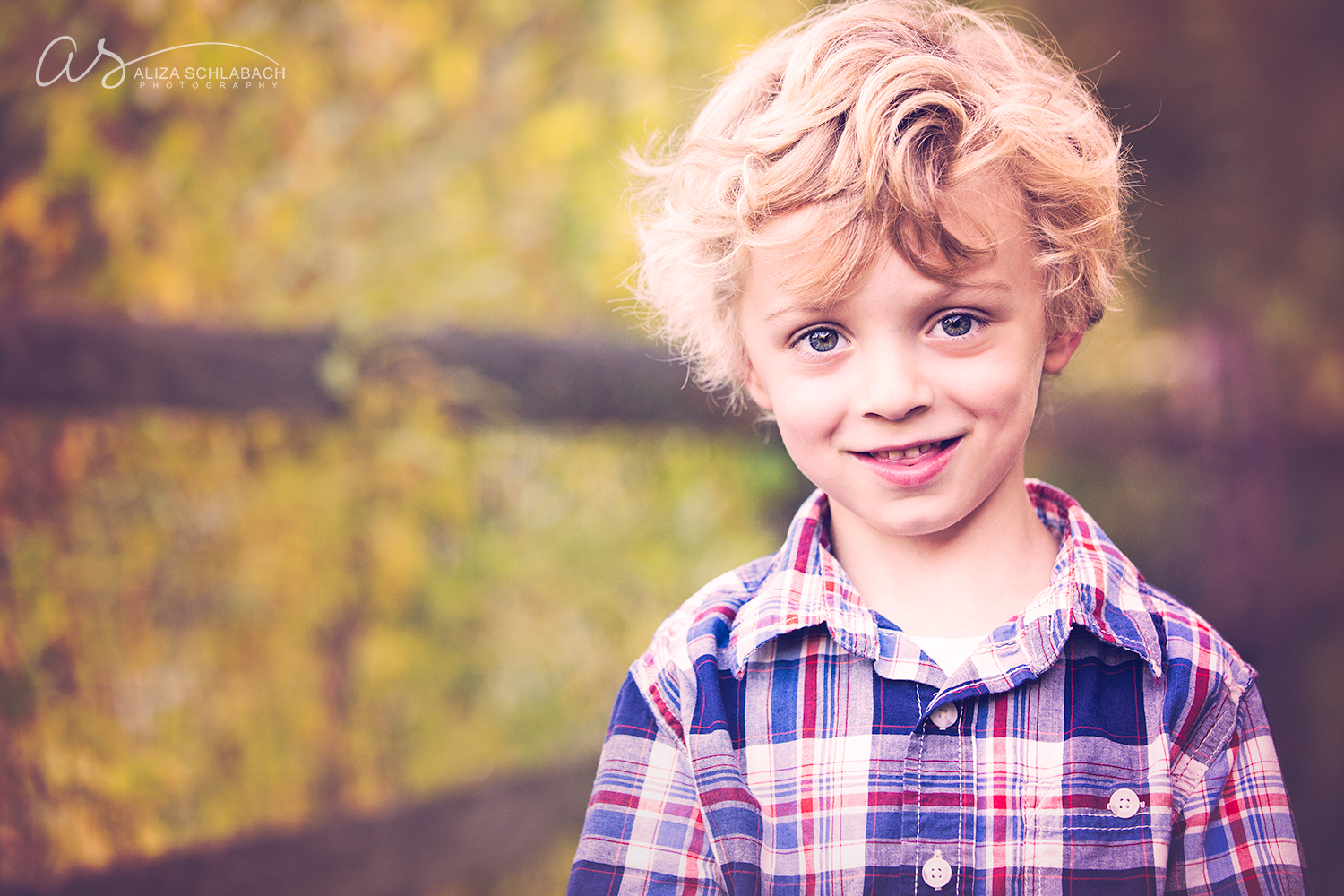 Portrait of an adorable boy with curly hair near a fence