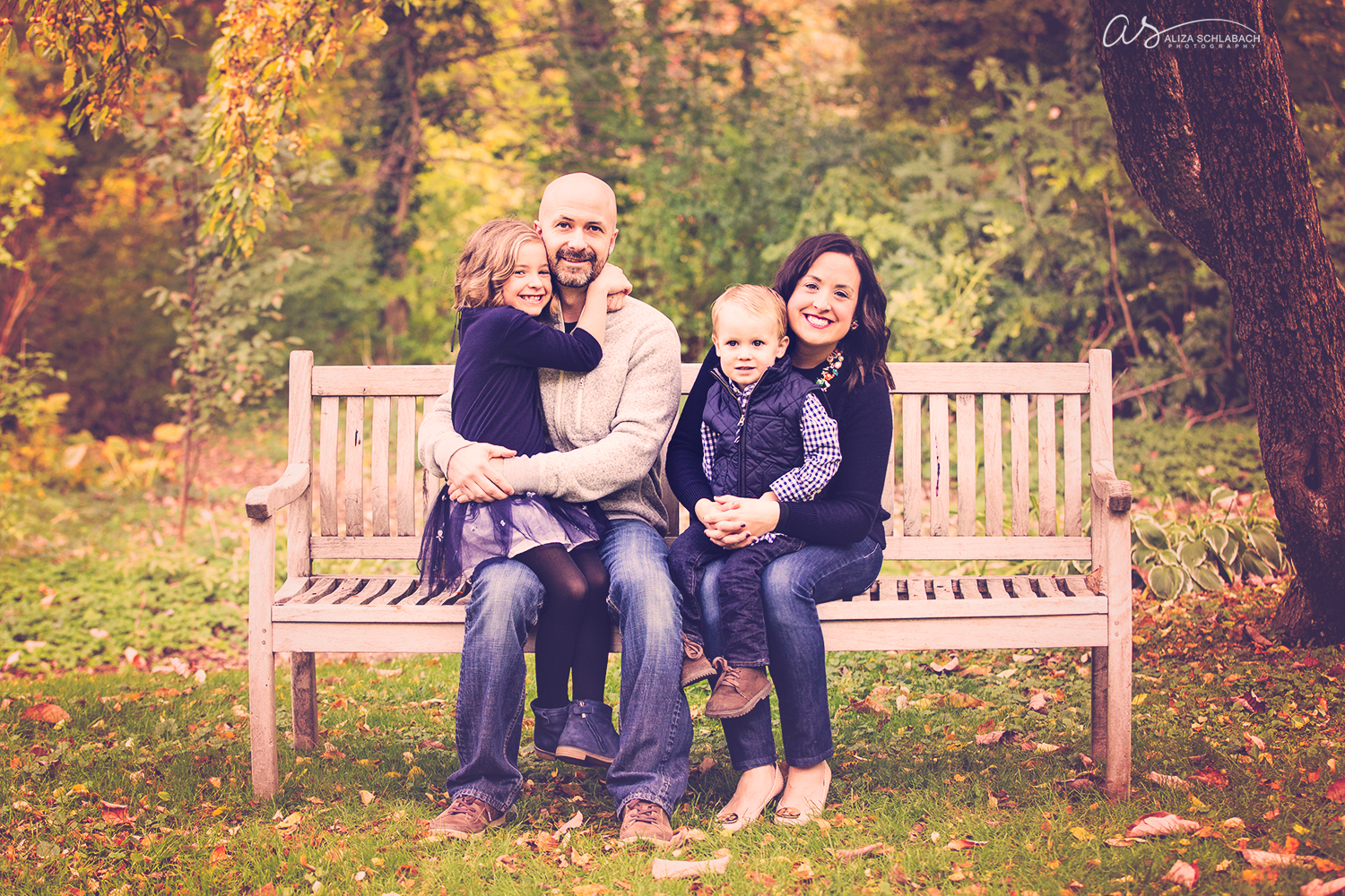 Family fall photo at the Grange Estate in Havertown