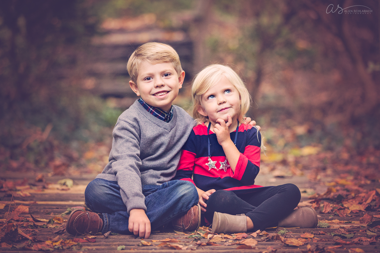 Fall mini session portrait of a little boy and his sister