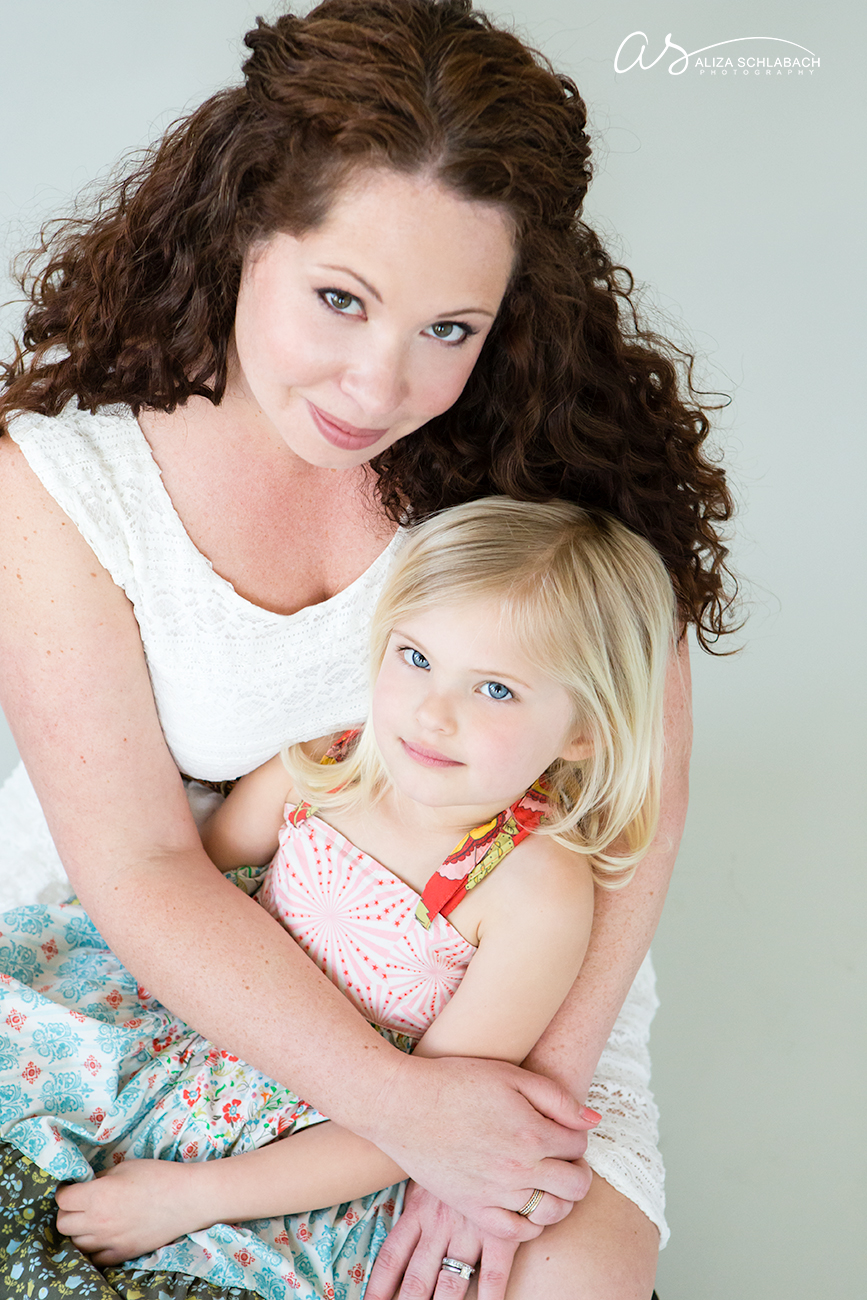 Photo of mother daughter studio portraiture by Aliza