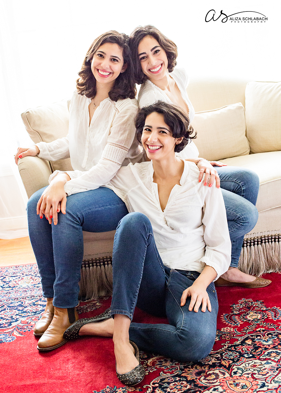 Portrait of three grown sisters