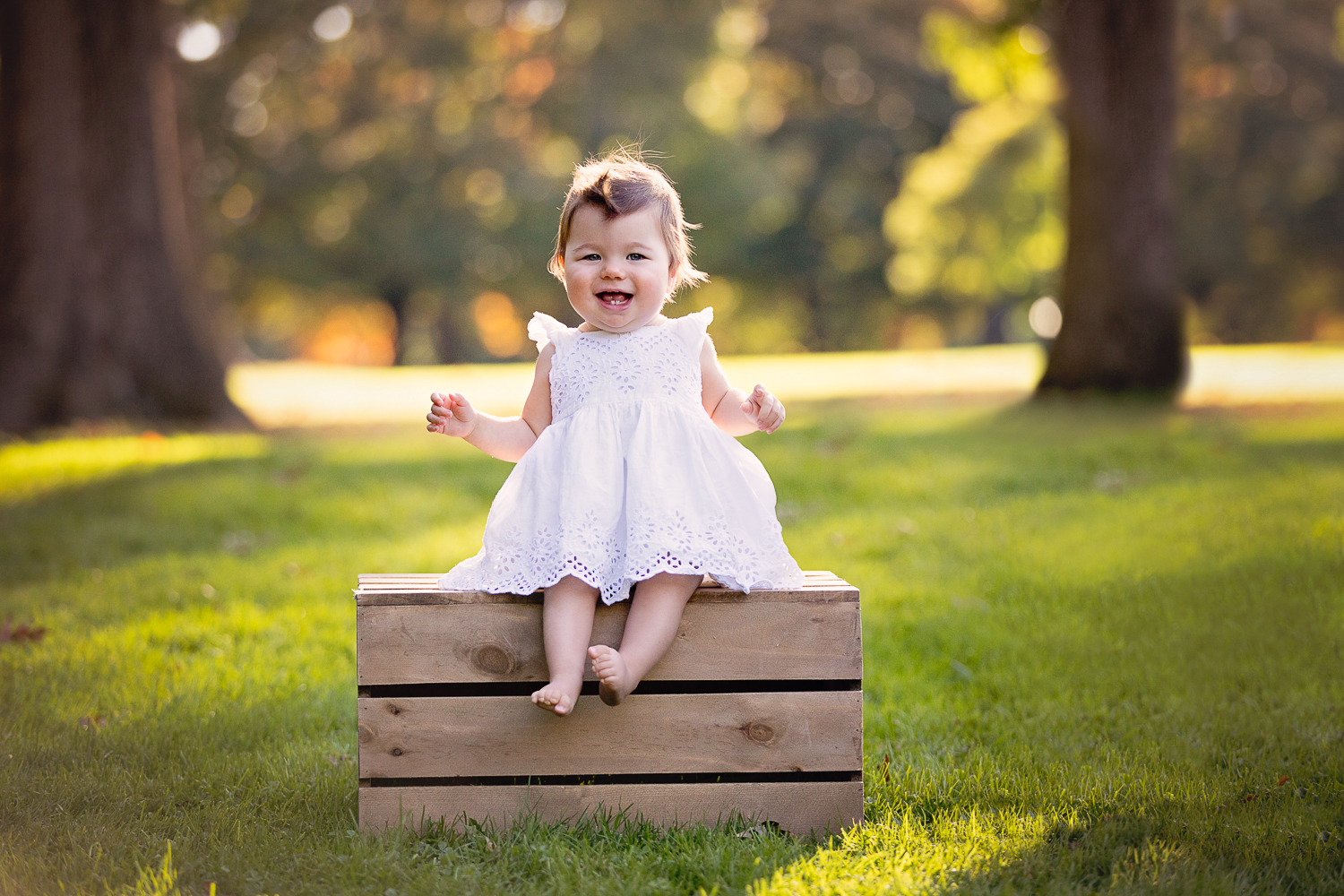Fall portrait time! A little baby girl sitting on a wooden crate at golden hour