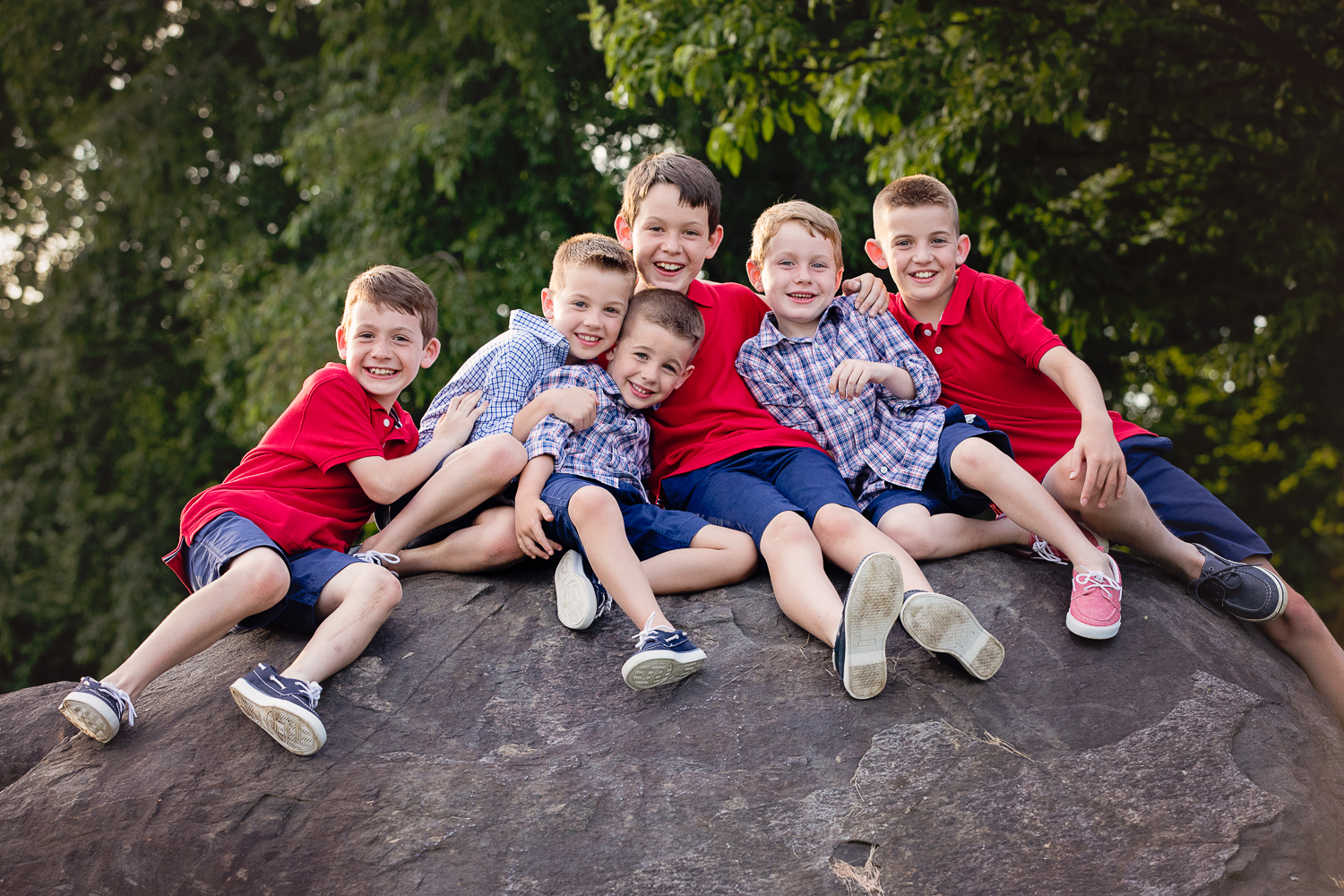 6 cousins, all boys, red and blue color scheme