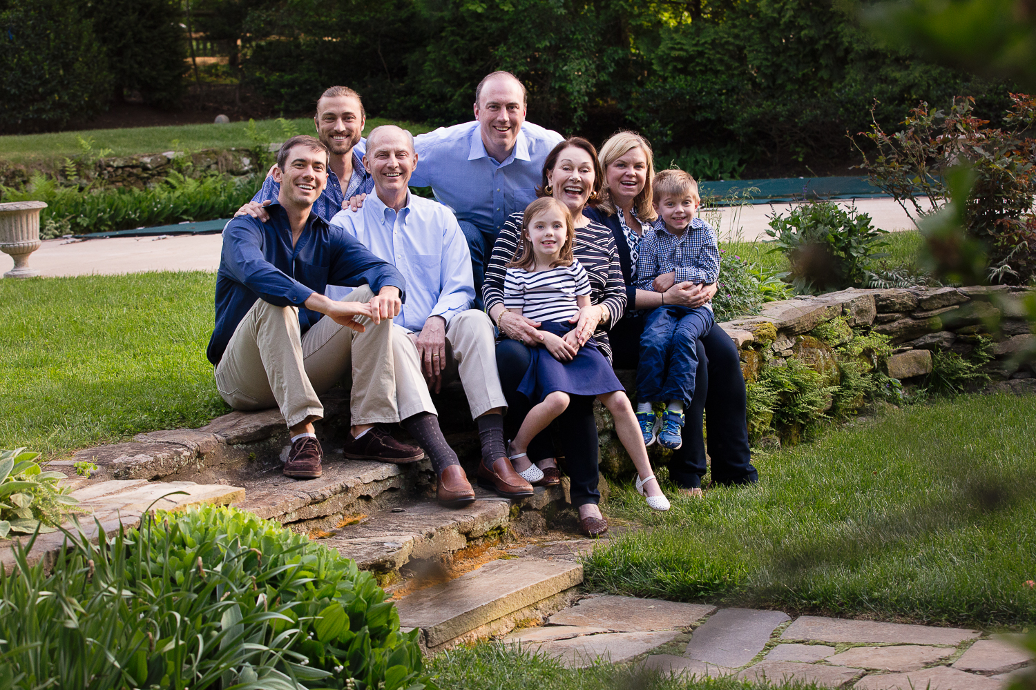 Outdoor portrait of an extended family