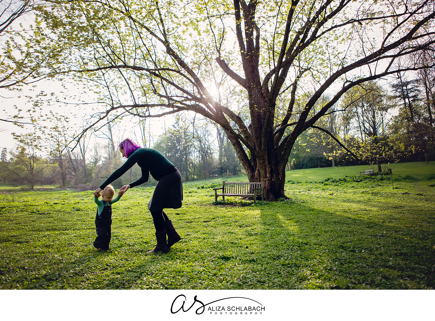 Photo of a pregnant mom playing with her toddler son under a tree