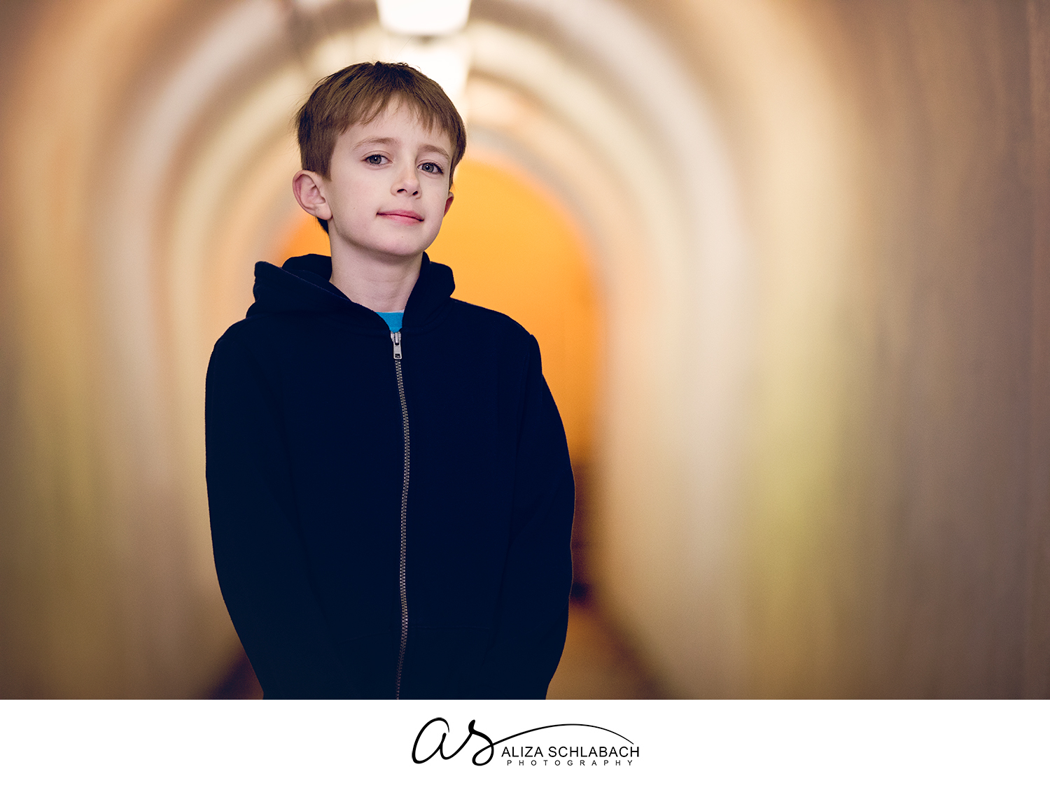Portrait of a boy in the tunnel at Ardmore train station