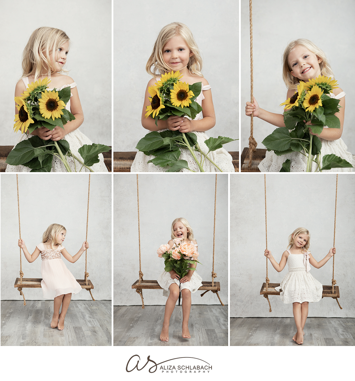 Photo collage of a little blonde girl with flowers on a wooden swing, taken in Aliza's Ardmore studio