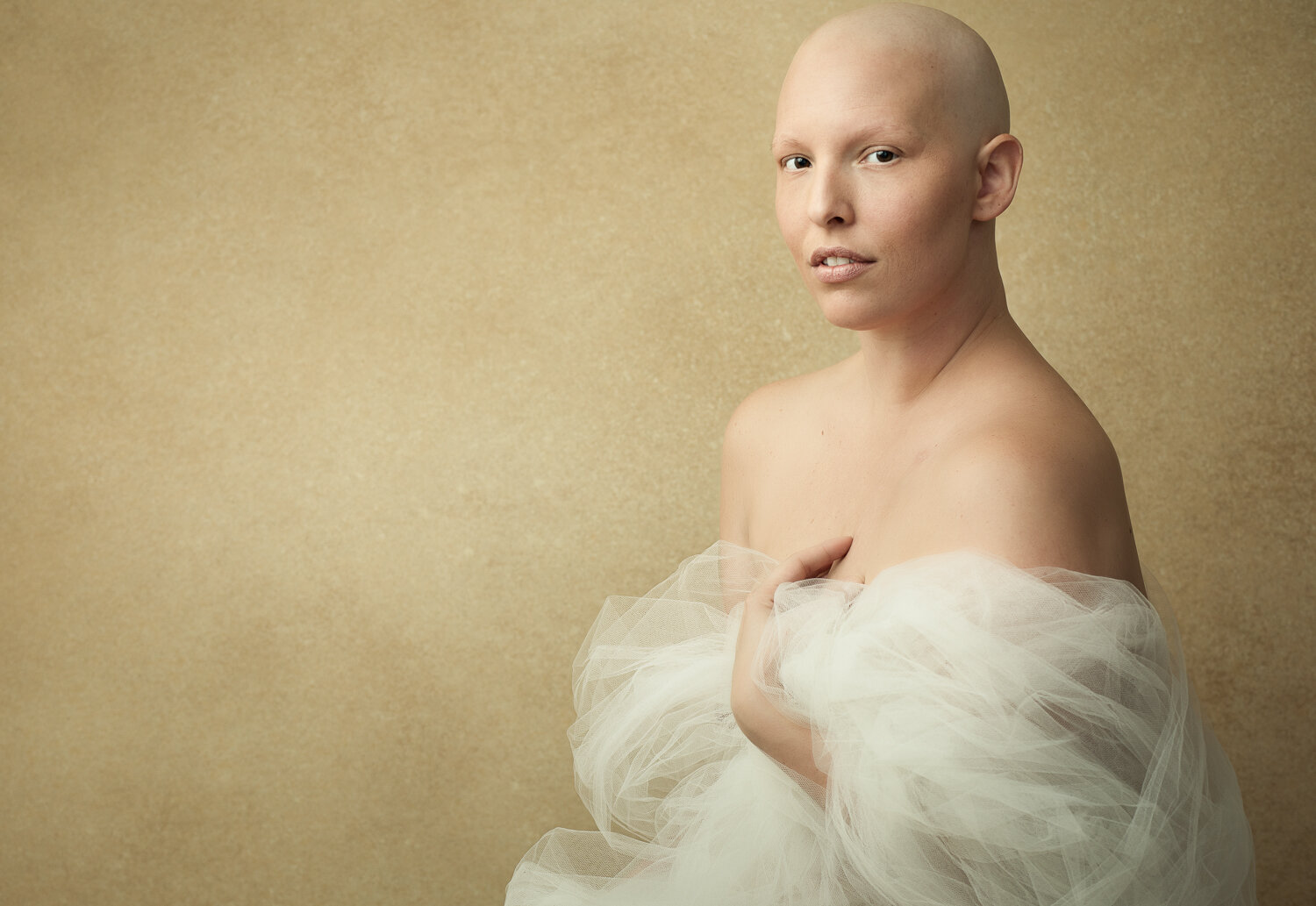 Portrait of a woman with breast cancer who just finished chemotherapy