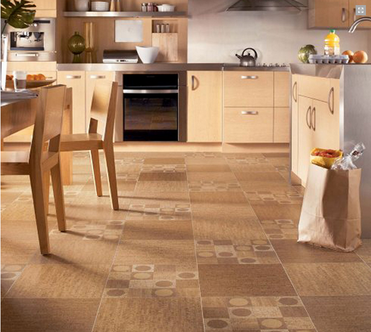 Cork tile floor