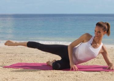 Sahra Esmonde-White demonstrating a single side leg lift.