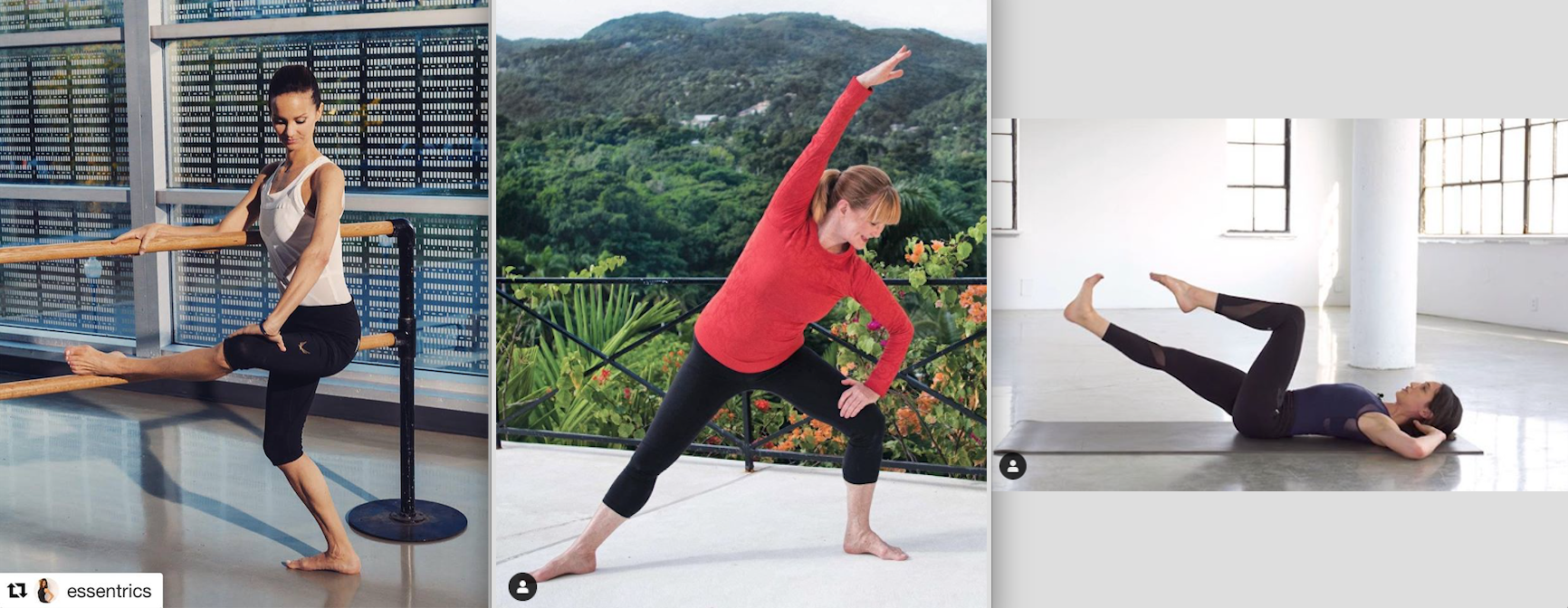 Many Essentrics movements have a barre/chair, standing, and floor variation.