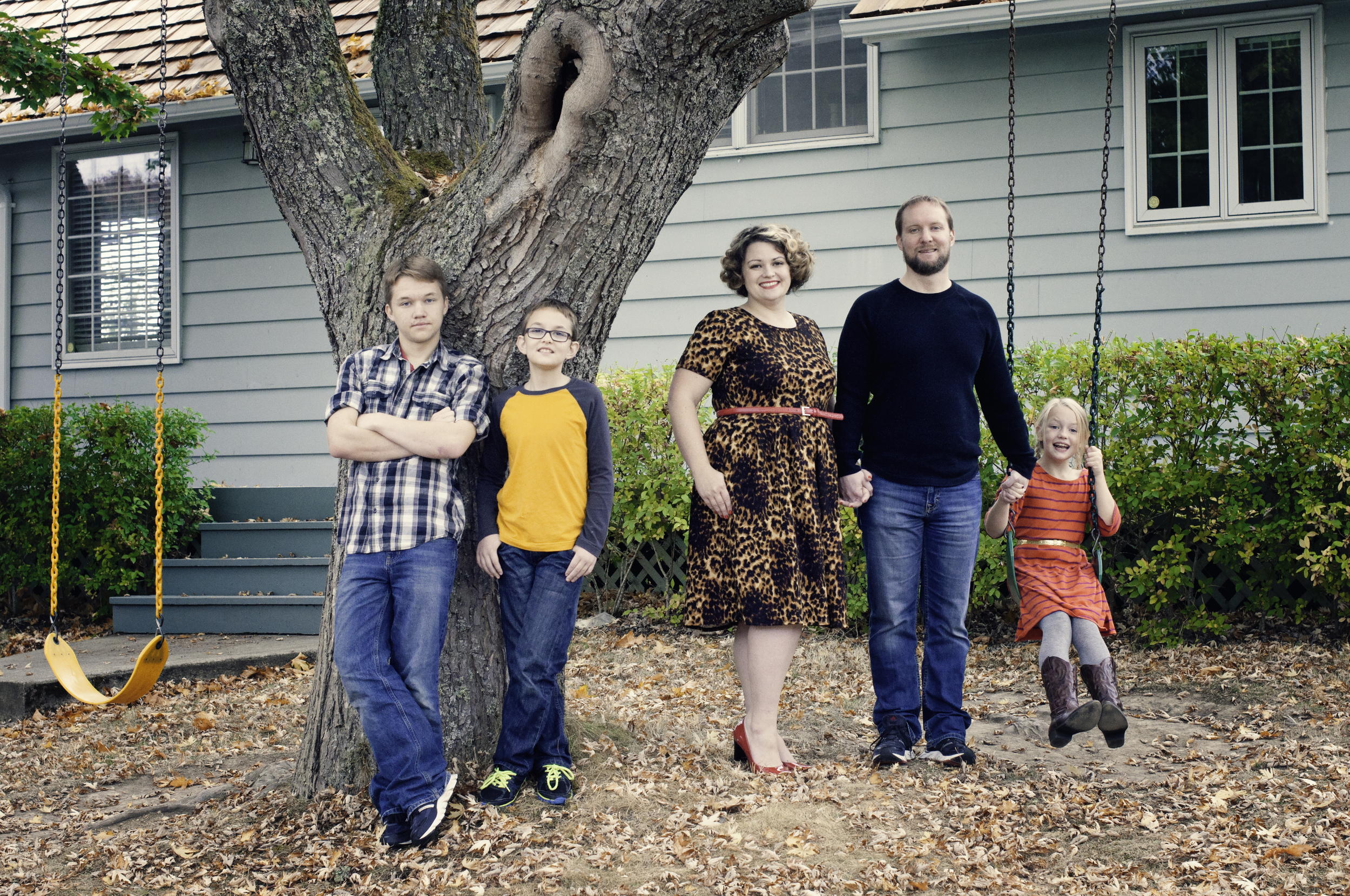 Grell family photos-Family candid-ish by tree and swing.jpg