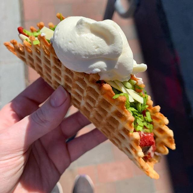 This week's taco is inspired by April Fool's Day! Our Milk Chocolate Stracciatella ice cream in a vanilla waffle cone topped with strawberry, matcha coconut, white chocolate, and whipped cream! Available at 1pm until we close at 10pm (or sell out!).
