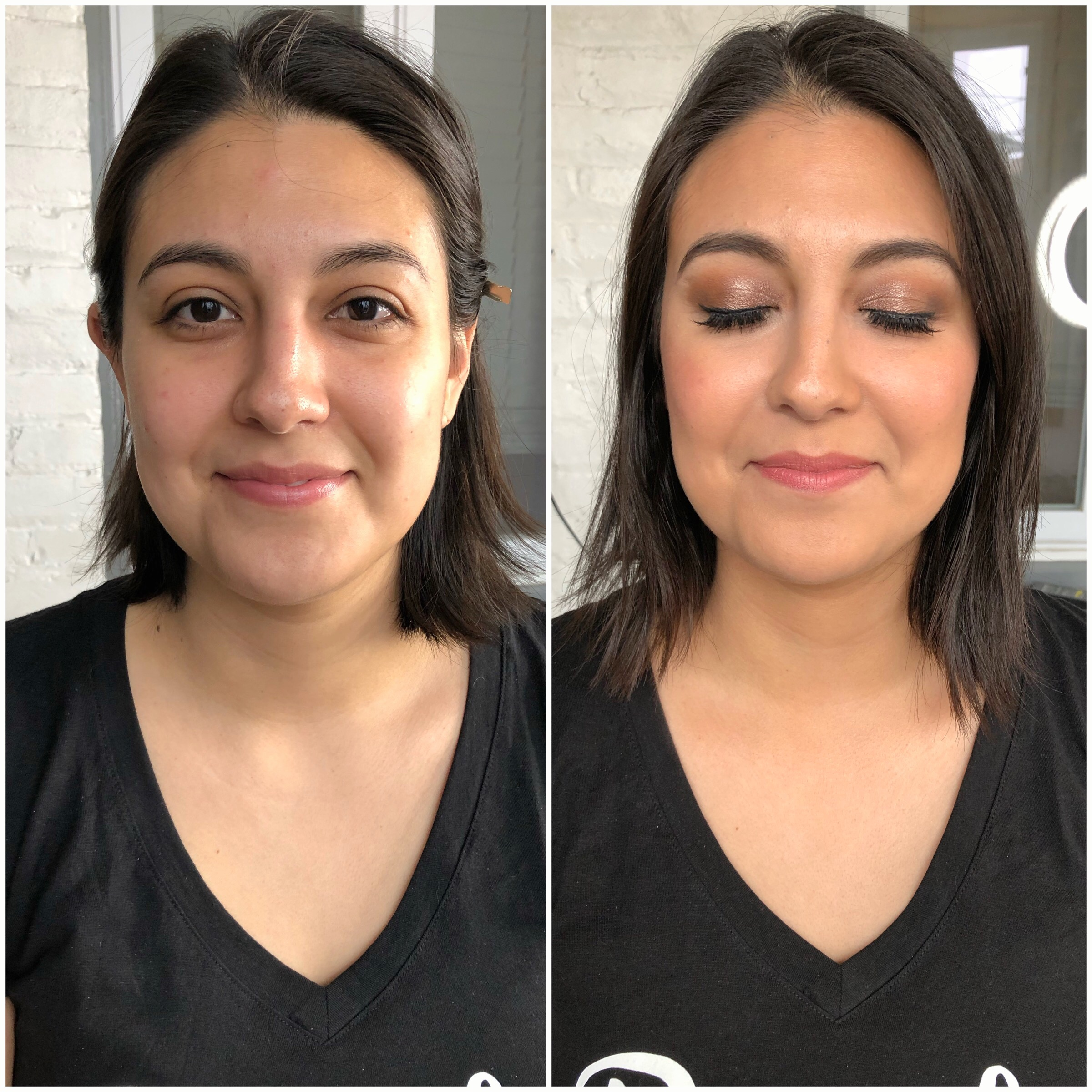 Bridesmaid, traditional makeup with strip lashes. Work done for Fearless and Bella.