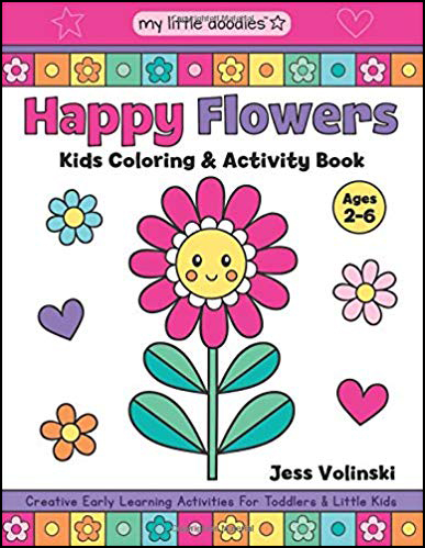 Happy Flowers Kids Coloring Book