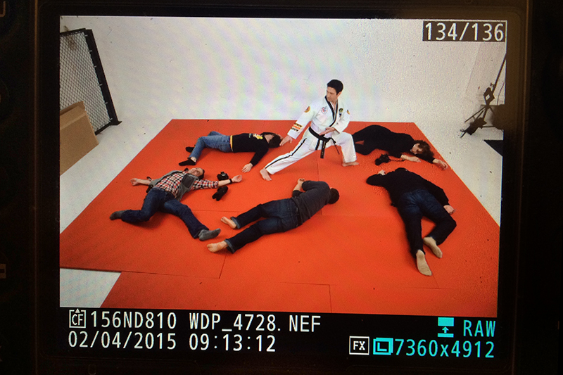 One of the scenarios Mr. Kern practiced move in his ATA 4th degree form while others laid around (this is pretend!). Stay tuned to see the final images on their website and perhaps in the ATA World magazine!