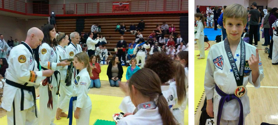 Nora and Alex brought home hardware competingat their first martial arts tournamentrecently.