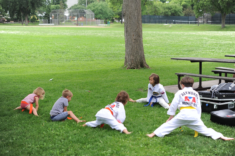 Stretching out in the fields of Pershing Park, perfect outside dojhang in Minneapolis.