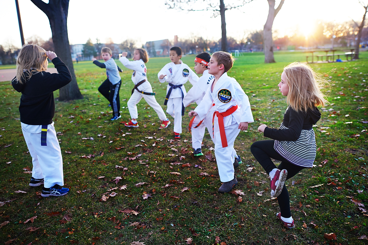 Beckett enjoys leading the group in jump front kicks!