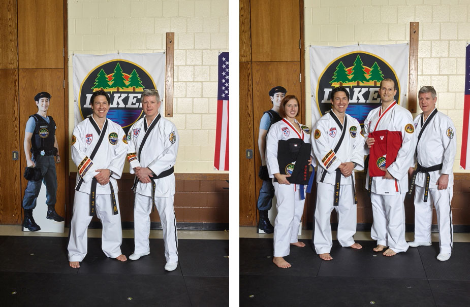 Master Dave Niska with Mr. Kern (and Agent G in the background) pictured left. Mrs. Jessica Reinhardt earned her black uniform while Mr. Clay Hogen-Chin earned his first-degree black belt, pictured right along with Master Niska and Mr. Kern.