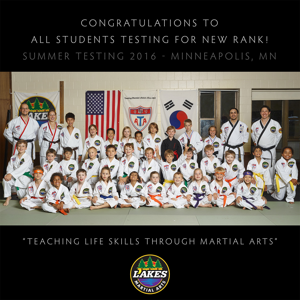 Congratulations to all the students who tested for a new rank on June 29, 2016 at Lakes Martial Arts in Minneapolis! Here is our Summer 2016 class photo: