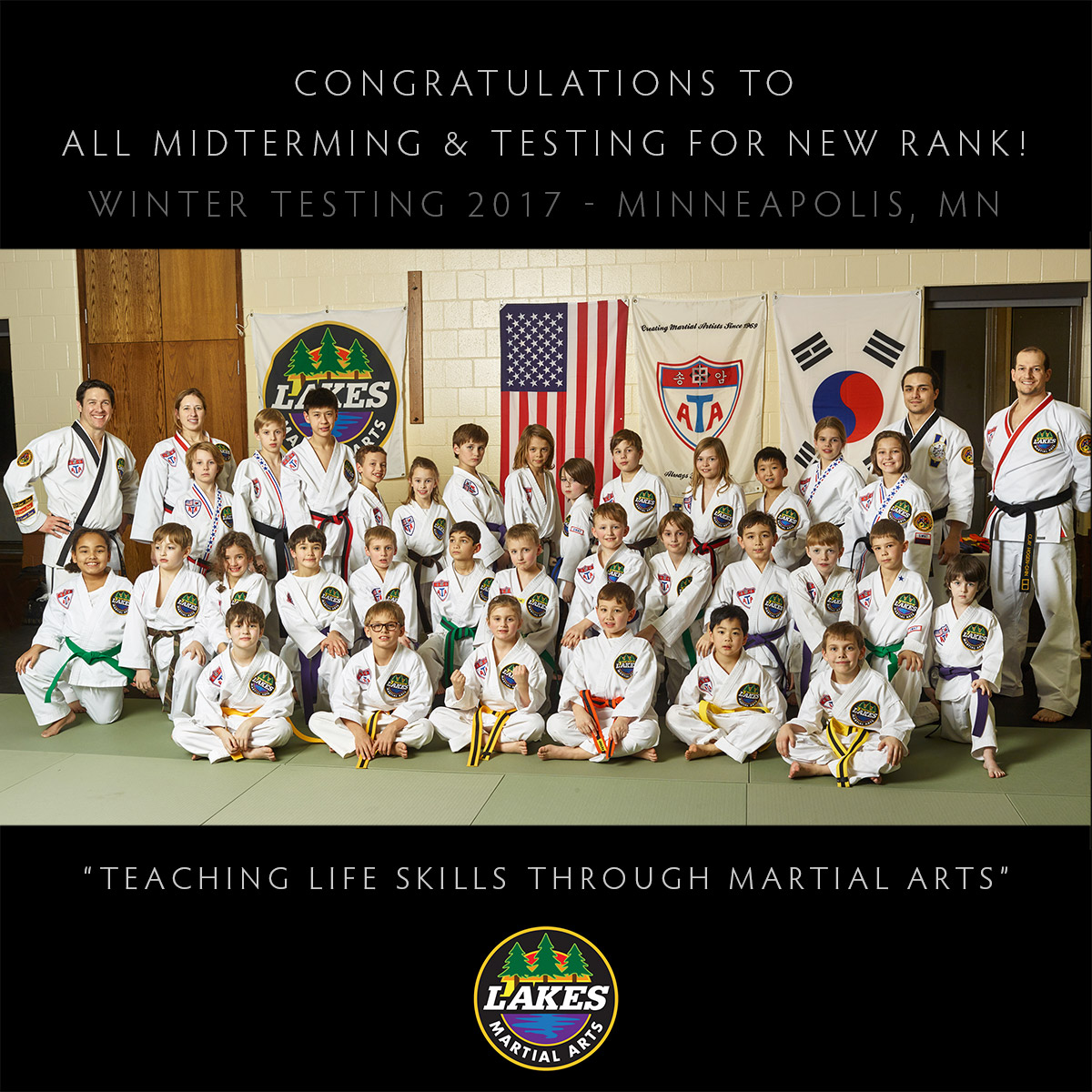 Karate Kids and instructors display confidence and self-esteem in our class portrait after testing.