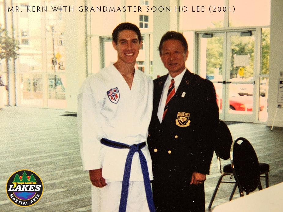 Mr. Kern pictured next to Grandmaster Soon Ho Lee at the 2001 World Championships in Little Rock, Arkansas.