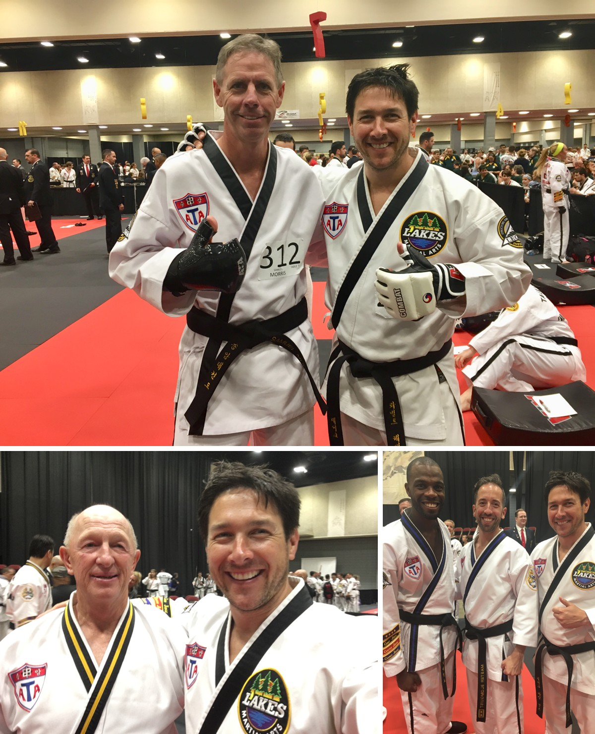 Mr Moore and Mr. Kern in the testing ring along with over 50 others (top). Chief Master Jager tested for the rank of 9th degree black belt (left) as did my training instructor Master Blomquist passed his test for 7th degree! What a great memory to share and sense of accomplishment to bring back to our students!