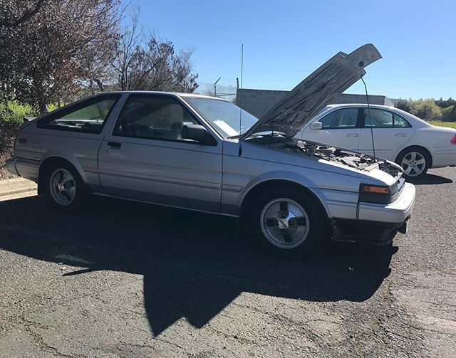 @zenki_trueno had his beautifully clean, all original, Toyota Corolla GTS dropped off today for a transmission swap. We are excited to have another #ae86 in the shop and the opportunity to keep this one on the road.  #rudeboyracing #toyota #corolla #gts #ae86 #hachiroku #jdm #norcal #zenki #corollagts #initiad #trueno #levin #alloriginal #allstock #dailydriver