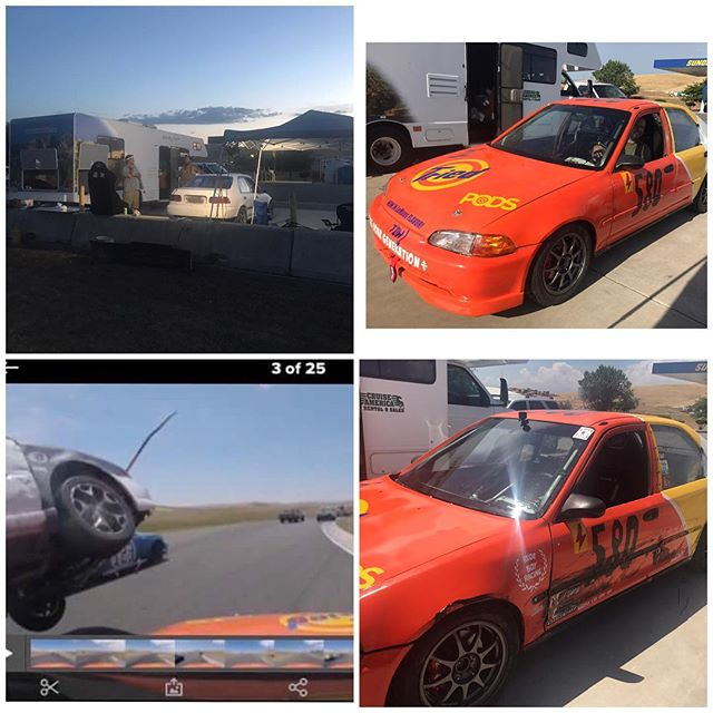 "This past weekend we participated in the 24hrs of Lemons at Thunderhill. We had engine issues, fixed that with a new cylinder head, had brake issues, got those sorta figured, did 5 solid laps and then a WRX lost its brakes (pistons came out the caliper) and ran into me at speeds of over 100mph. I was probably going around 50mph at the time. Their team came to help fix it but the subframe was bent. I'm hurting a lot and a mild ""funcussion"" but I'll be fine in a few weeks. Check out the next post to see what else happened.  #rudeboyracing #mememachine #24hoursoflemons #thunderhill #voddenthehellarewedoing #itriedpods #tidepods #tidepodchallange #tidepod #memes"