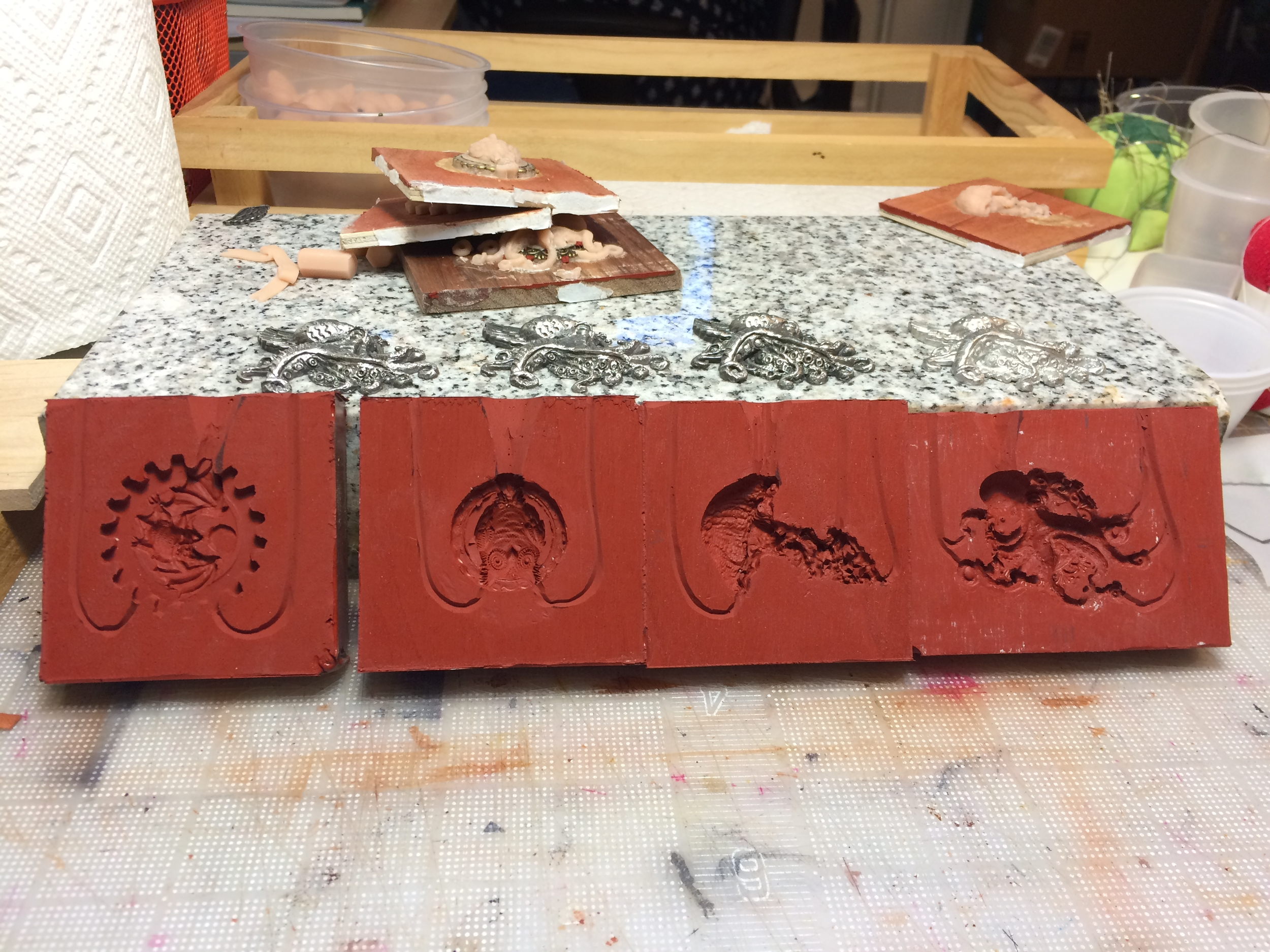 Making silicone molds from the sculpts.