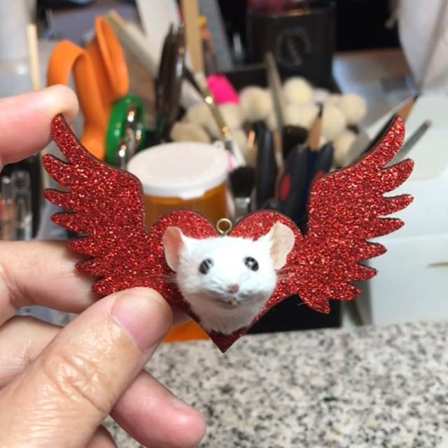 Glitter! Heart with wings! Cute little mouse! Doesn't get any better. Now on #Etsy #mouse #taxidermy #stockingstuffer #giftideas #Christmas #holidays #glitter