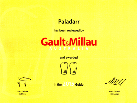 Awarded 2 hats by Gault & Millau Restaurant Guide Australia    2015