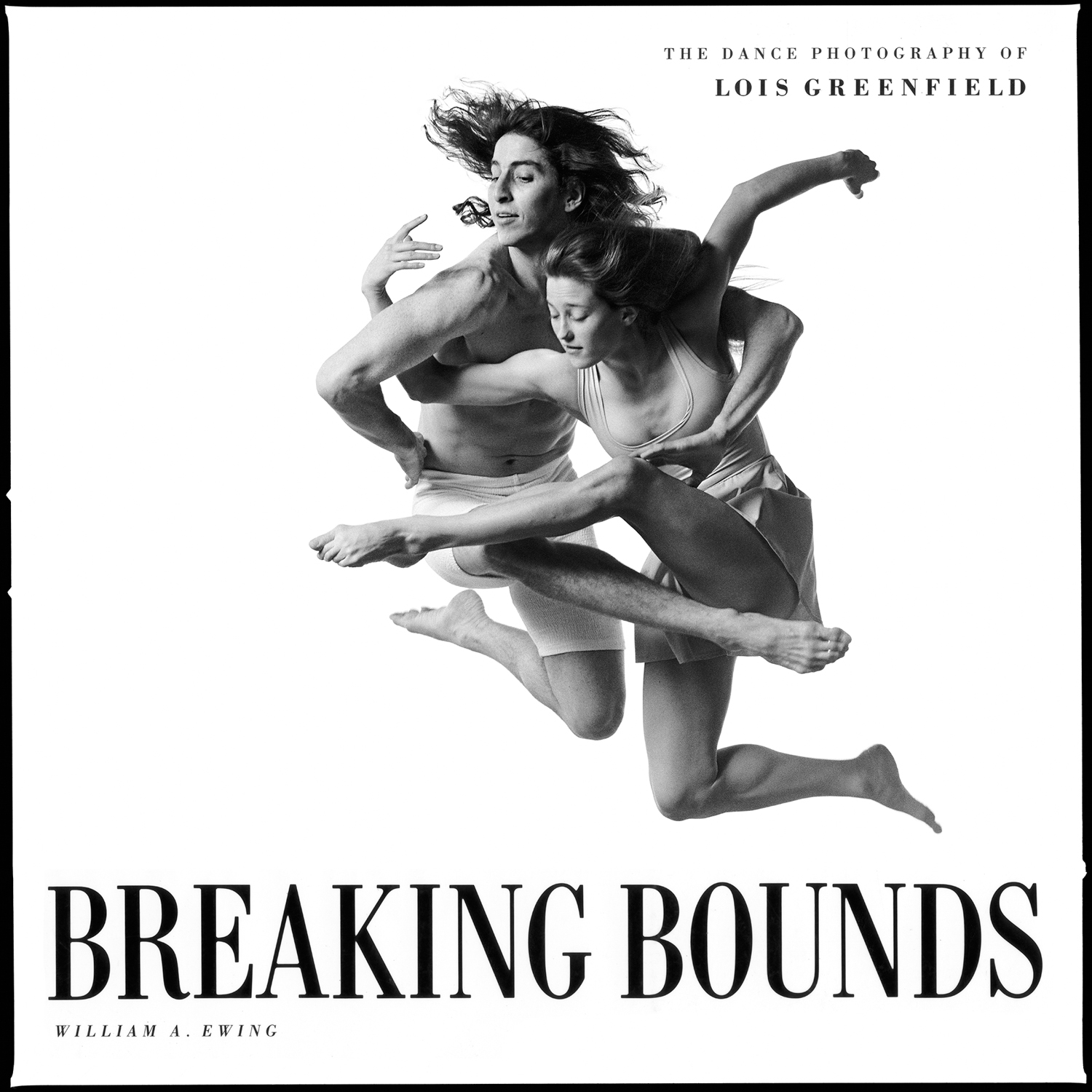 Breaking Bounds  (1992) is Greenfield's first book, showcasing her groundbreaking images of dance as can never be seen on the stage . Unrestrained by choreography, the dancers in her photographs defy both logic and gravity.   William A. Ewing and Lois Greenfield. Breaking Bounds. Chronicle Books (USA), Thames & Hudson (UK), 1992.