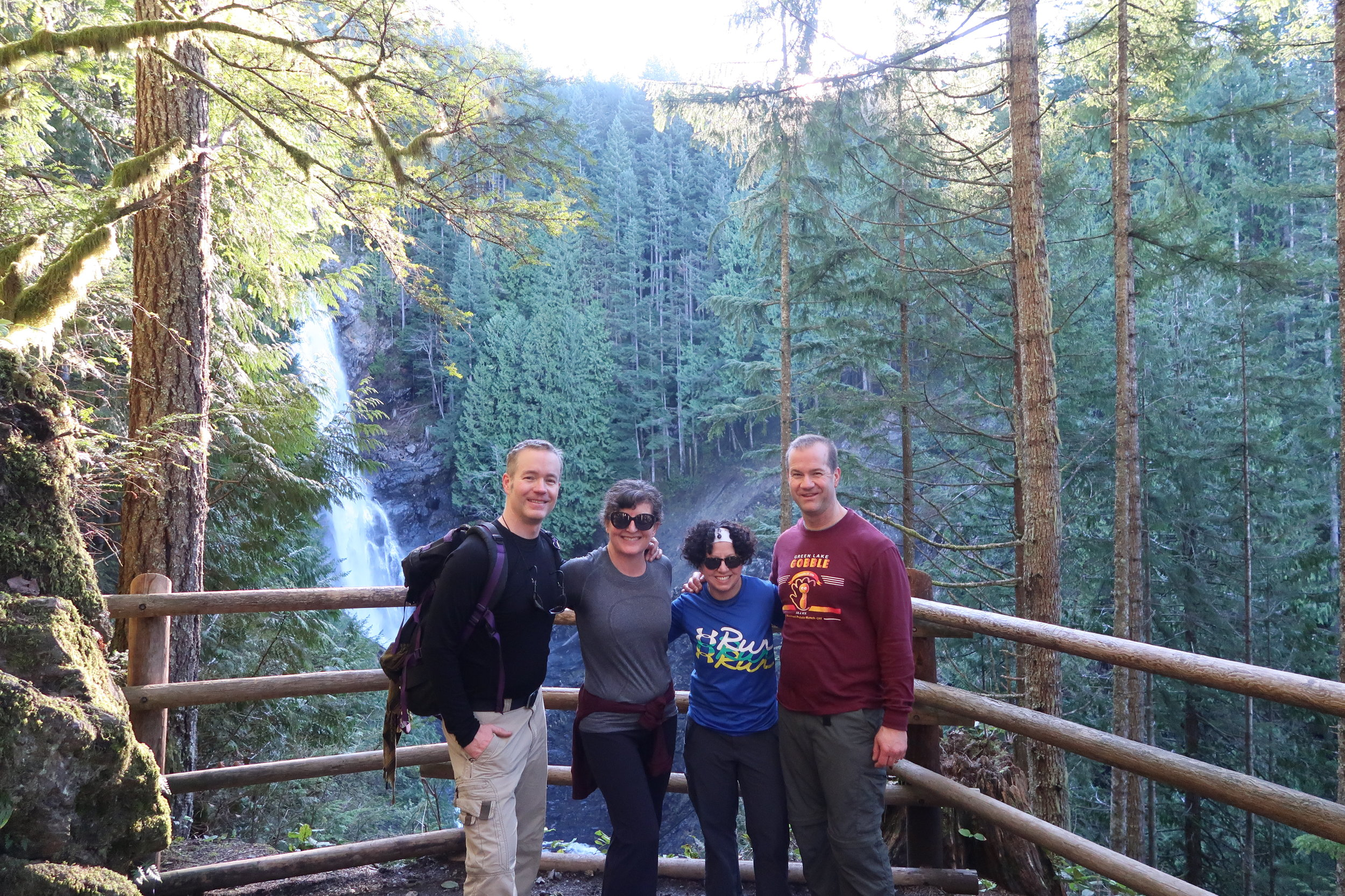Keith Shay Jill Marc and Middle Falls - Wallace Falls Trail.JPG