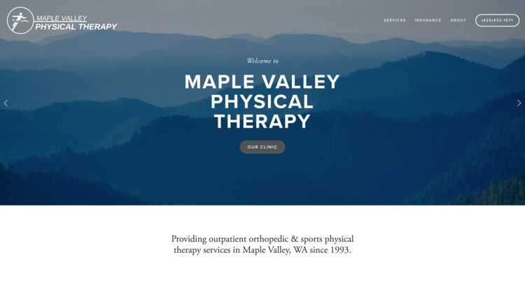 MAPLE VALLEY PHYSICAL THERAPY | private-owned physical therapy clinic in Washington.  updated their website with Huson Creative.