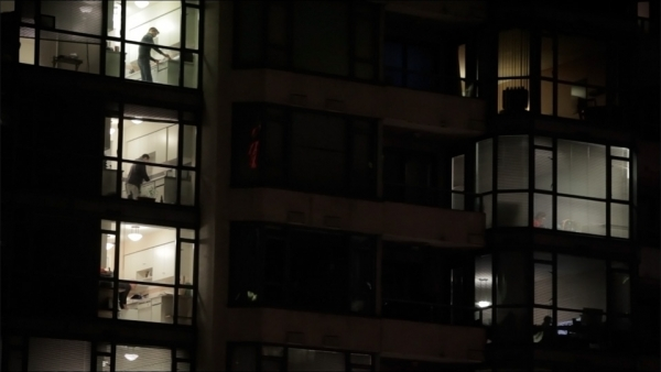 NIGHT FALLS ON GLASS - 2012 - HD, 11 minDowntown Vancouver, BC in abstract compositions of light, color, and movement.