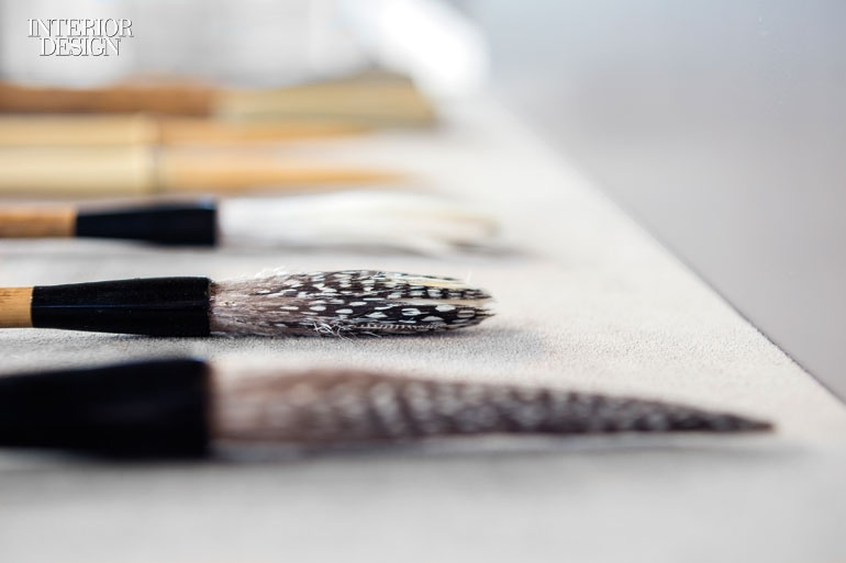 This brush is made with pheasant feathers. Photography by Jimmy Cohrssen. From Interior Design Magazine.