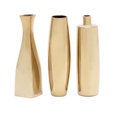 Decmode Set of 3 Glam 12 Inch Gold Ceramic Vases, Gold.jpeg