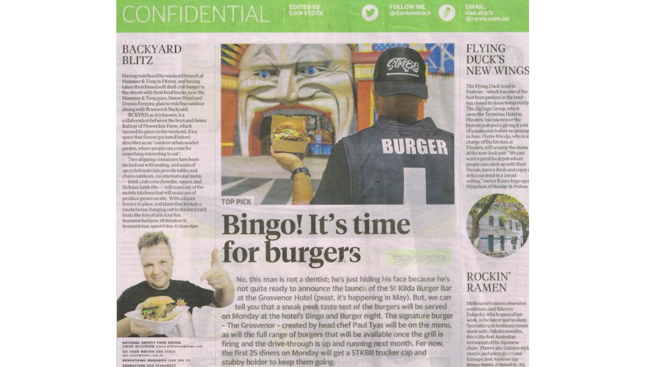 Bingo it's time for burgers