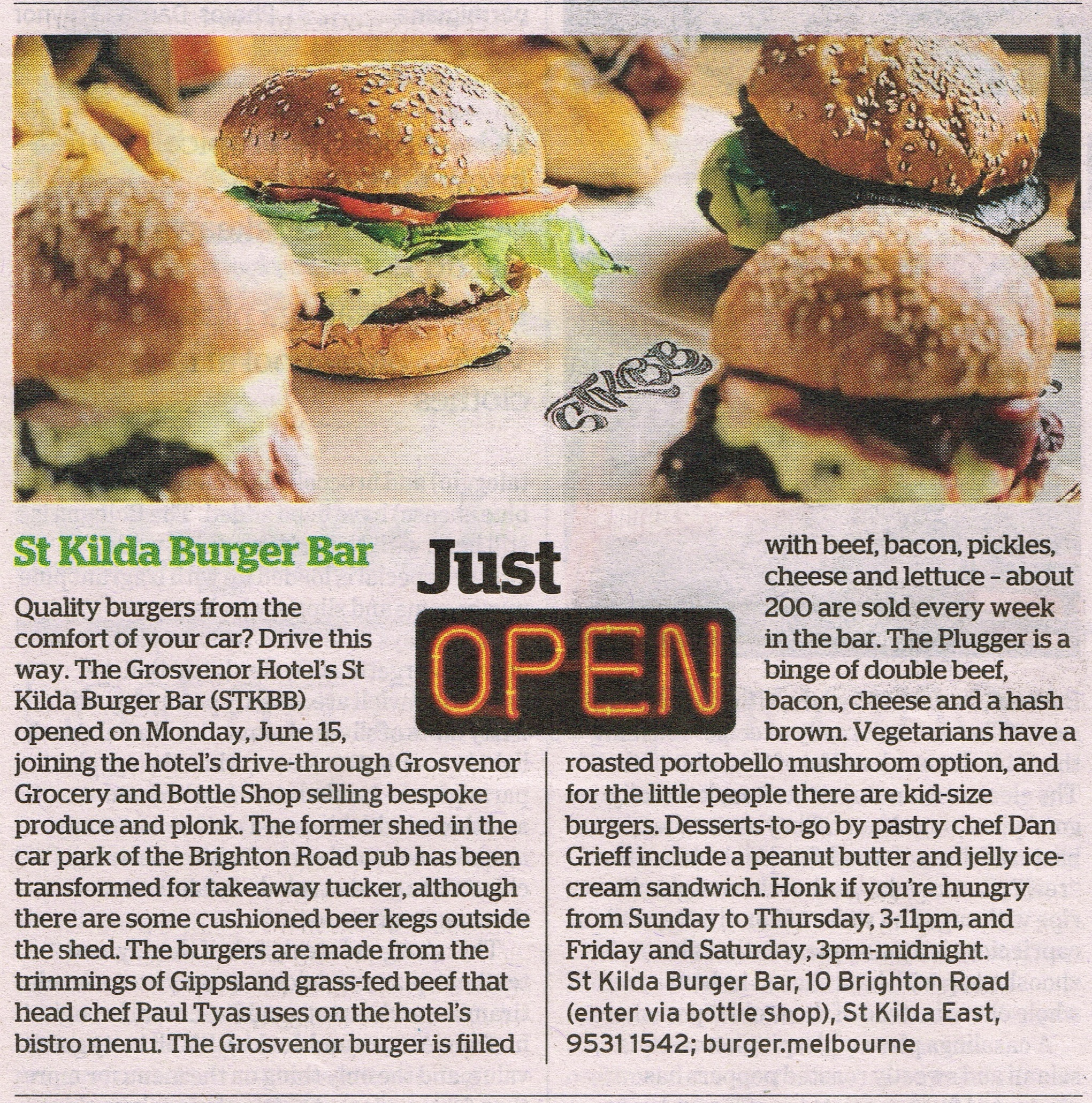 Just Open - St Kilda Burger Bar