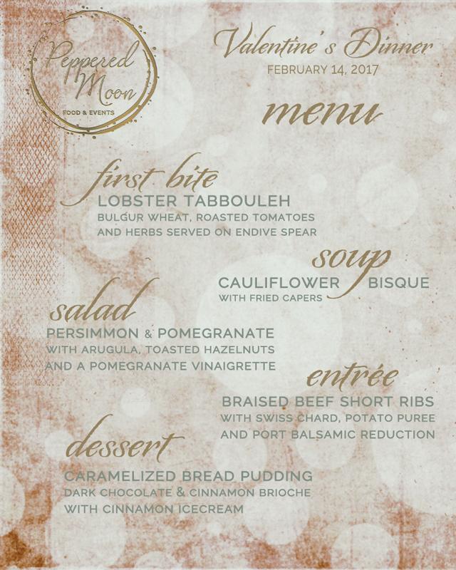 Peppered Moon Valentine's Menu Private Chef New York City