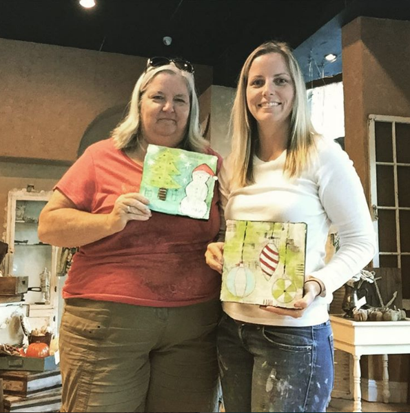 Nov. 2015  Paint + Doodle Christmas Collage at The Weathered Feather in Riverside